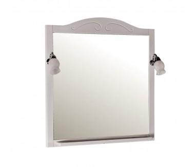 Зеркало ASB-Woodline Флоренция 85 с полкой и светильниками массив ясеня белый