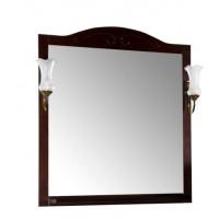 Зеркало ASB-Woodline Флоренция квадро - 80 с полкой и светильниками массив ясеня бук тироль