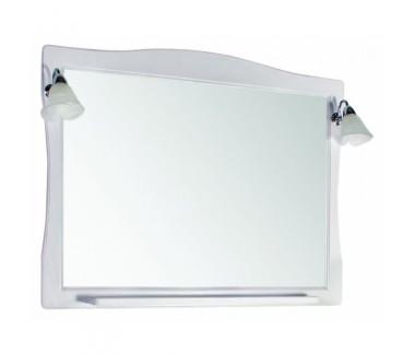 Зеркало ASB-Woodline Модена 105 со светильниками массив ясеня белое