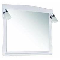 Зеркало ASB-Woodline Модена 85 со светильниками массив ясеня белое