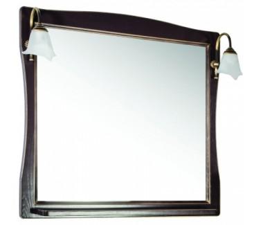 Зеркало ASB-Woodline Модена 85 со светильниками массив ясеня орех