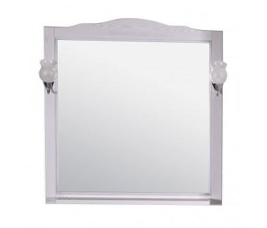 Зеркало ASB-Woodline Римини Nuovo-80 со светильниками массив ясеня белое