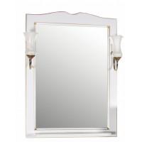 Зеркало ASB-Woodline Верона 65 со светильниками массив ясеня белое