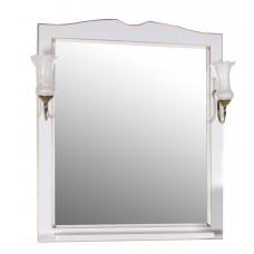 Зеркало ASB-Woodline Верона 75 со светильниками массив ясеня белое