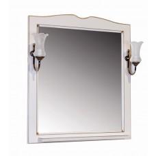 Зеркало ASB-Woodline Верона 75 со светильниками массив ясеня бежевое
